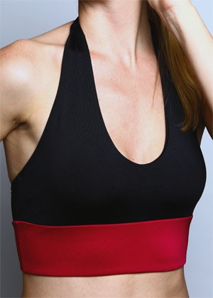 Burgundy/Black Diva Sports Bra Front