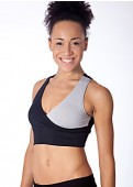 Silver/Black Yin Yang Sports Bra Full View